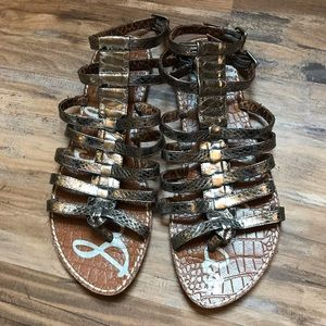 Sam Edelman- Silver metallic gladiator sandals